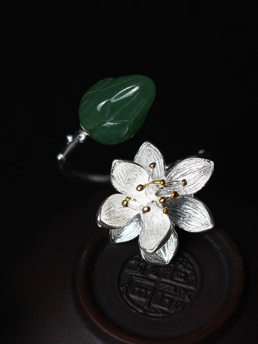 SILVER MI Color Crystal Lotus Opening Ring 2