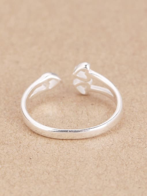 Peng Yuan Heart shapes Silver Opening Midi Ring 2