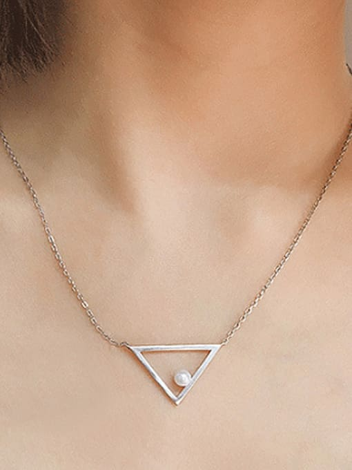 Peng Yuan Freshwater Pearl Triangle Silver Necklace 1