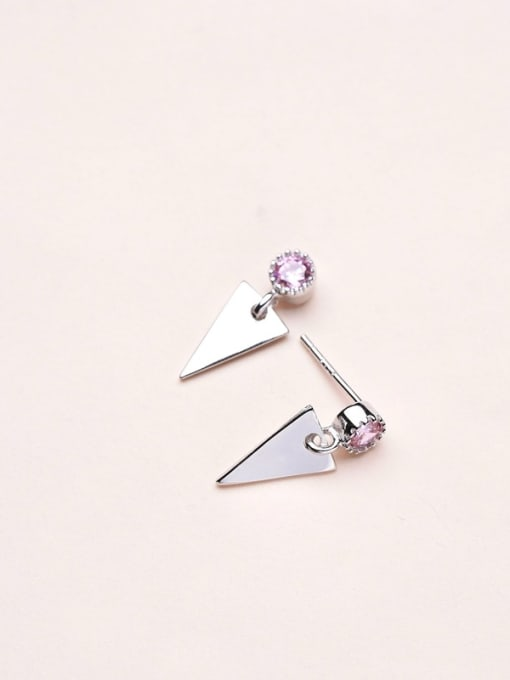One Silver Exquisite Triangle Shaped Zircon drop earring 2