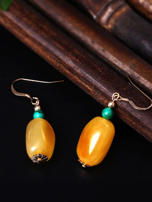SILVER MI Natural  Yellow Beeswax Hook Earrings 3