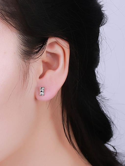 One Silver Personality Bamboo Shaped Stud Earrings 1