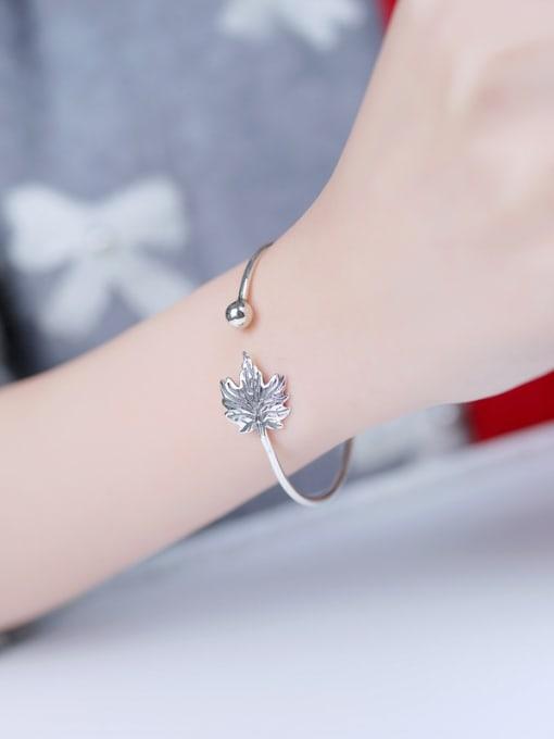 Peng Yuan Maple Leaf Silver Opening Bangle 1