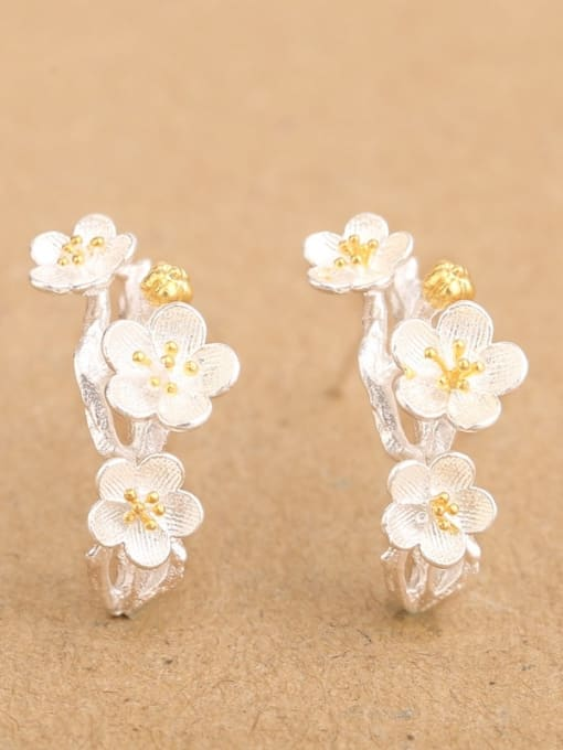 Peng Yuan Exquisite Flowers Silver stud Earring 0