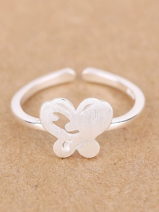 Peng Yuan Simple Butterfly Silver Opening Ring 0