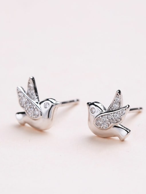 One Silver Women Lovely Bird Shaped stud Earring 0
