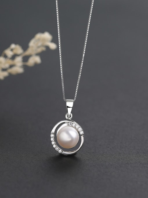 One Silver S925 Silver Freshwater Pearl Pendant 3