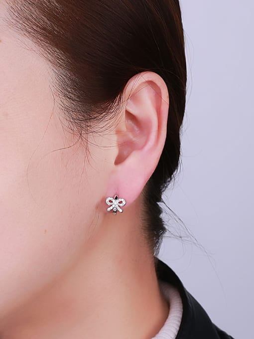 One Silver All-match Bowknot Shaped Stud Earrings 1