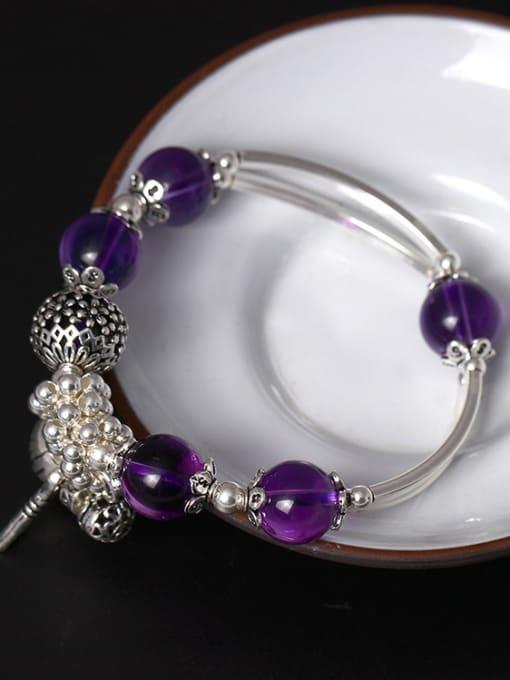 SILVER MI Handmade Amethyst Fashionable Women Bracelet