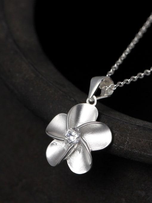 SILVER MI S925 Silver Flower Fashion Necklace 1