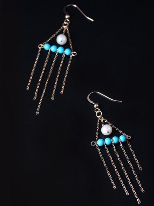 SILVER MI 4K Gold Natural Pearl Tassel Drop Earrings 1