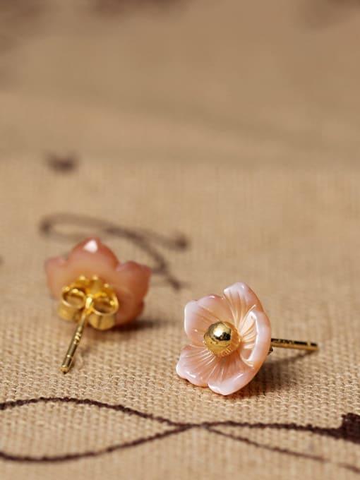 SILVER MI S925 Silver Shell Flower stud Earring 1