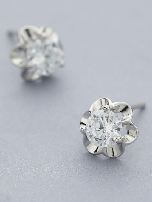 One Silver 2018 925 Silver Flower Zircon stud Earring 1