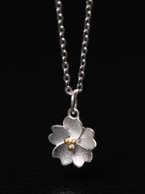 SILVER MI Blossom Flower Women Clavicle Necklace 0
