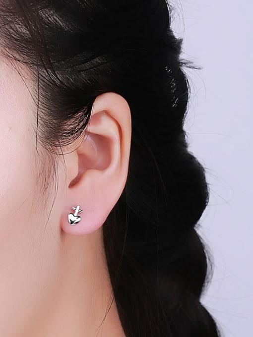 One Silver Lovely Heart Shaped Stud Earrings 1