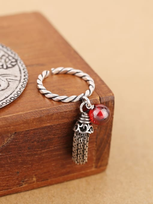 Red Freshwater Pearl Garnet Tassels Opening Ring