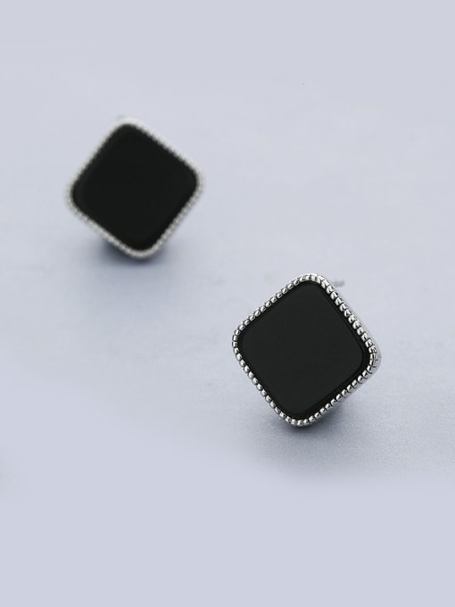 One Silver Black Square Shaped stud Earring