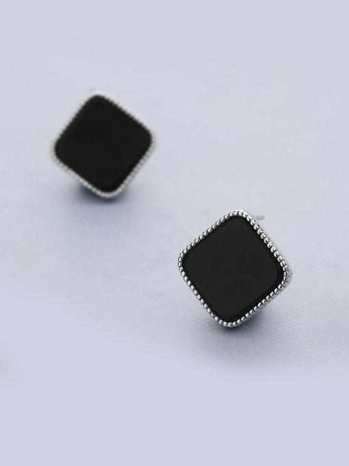 White Black Square Shaped stud Earring