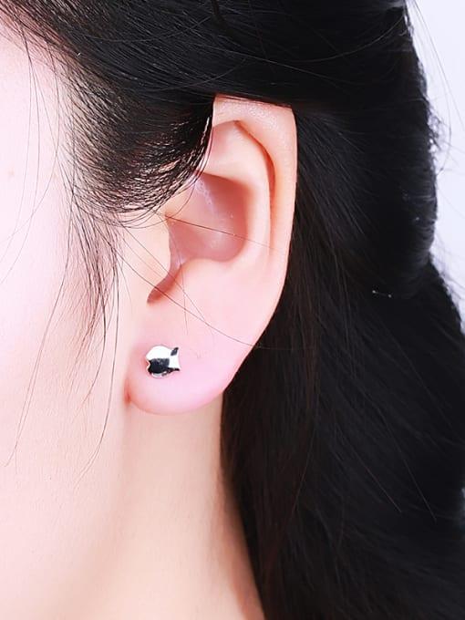 One Silver Cute Fish Shaped Stud Earrings 1