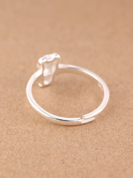 Peng Yuan Tiny Cartoon Bear Silver Midi Ring 1