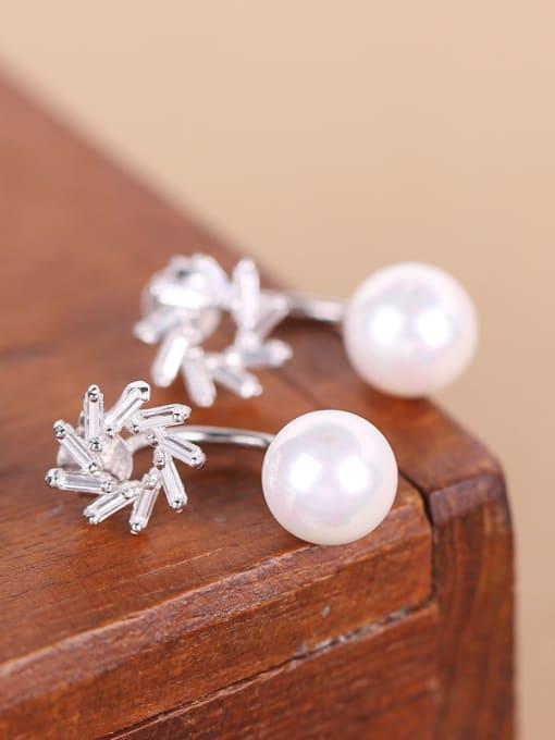Peng Yuan Freshwater Pearl Zircon stud Earring 2