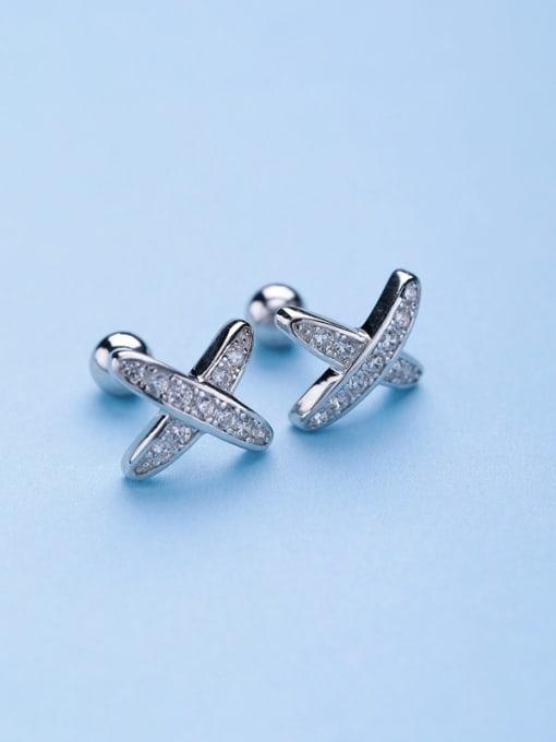 One Silver 925 Silver X Shaped Zircon Earrings 0