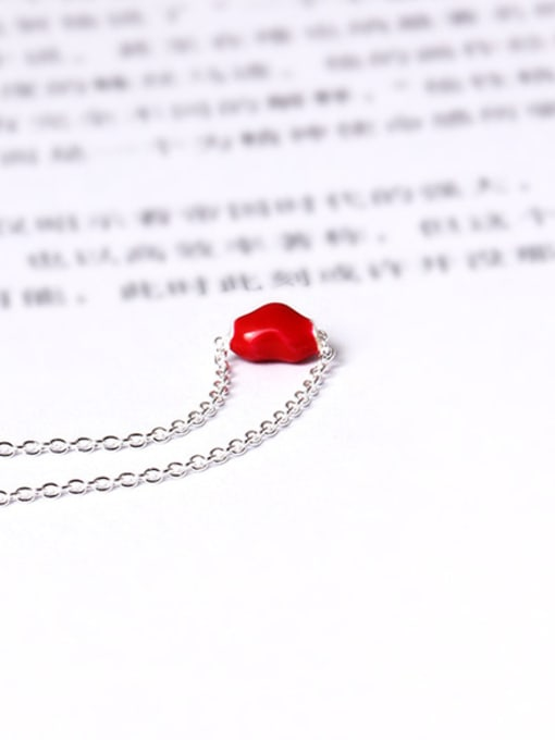 SILVER MI Red Glue Heart Clavicle Necklace 1