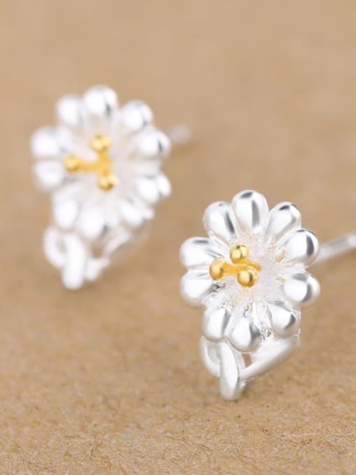Peng Yuan Fashion Flower Silver stud Earring 2