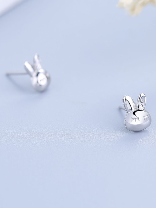 One Silver 925 Silver Rabbit Shaped stud Earring 3