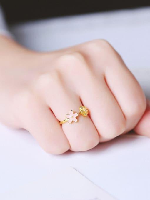 Peng Yuan Tiny Flowers Zircon Opening Ring 1