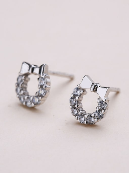 One Silver 925 Silver Bowknot Shaped stud Earring 3