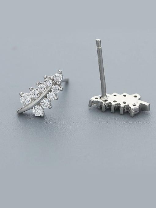 One Silver Women Leaf Shaped Zircon Earrings 0