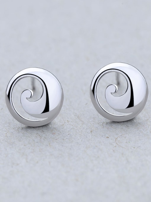 One Silver Women Exquisite Round Shaped stud Earring 3