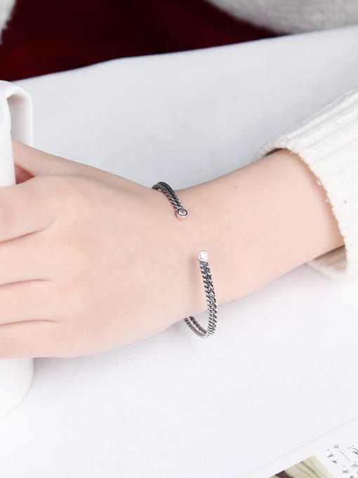 Peng Yuan Two-layer Twisted Silver Opening bangle 1