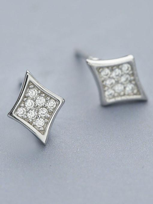 One Silver 925 Silver Diamond Shaped Earrings 2