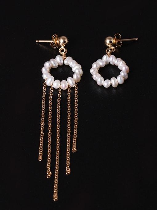 SILVER MI Handmade Freshwater Pearls Tassel Drop Earrings