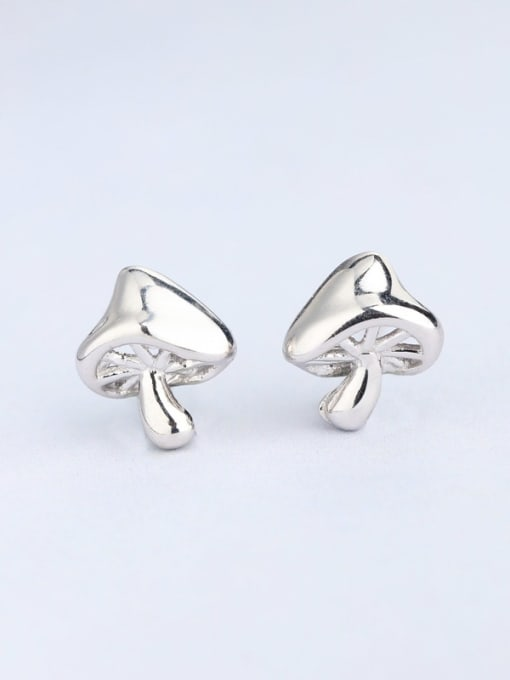 One Silver Women Exquisite Mushroom Shaped stud Earring 2