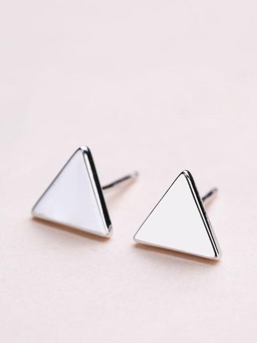 One Silver Women Trendy Triangle Shaped stud Earring 1