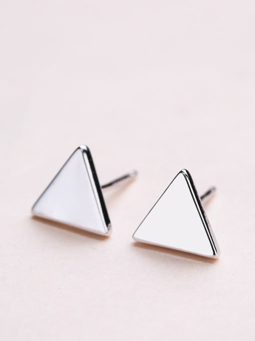 white Women Trendy Triangle Shaped stud Earring