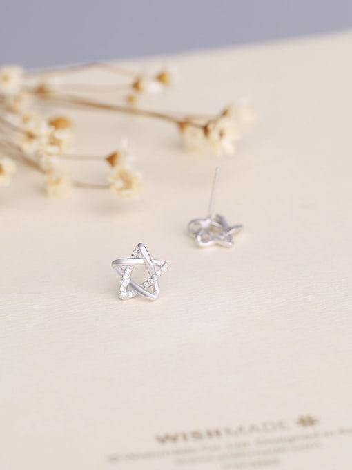 One Silver Women Elegant Star Shaped Zircon stud Earring 2