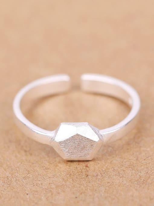 Peng Yuan Simple Geometrical Silver Opening Ring 0