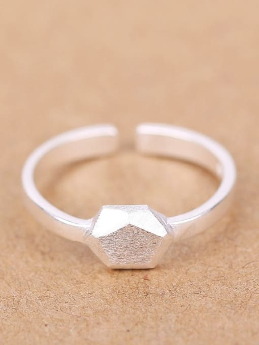 Peng Yuan Simple Geometrical Silver Opening Ring