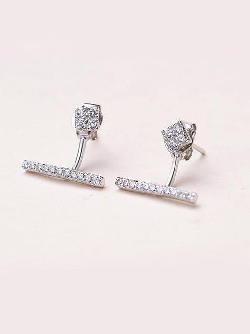 White 925 Silver Temperament Zircon cuff earring