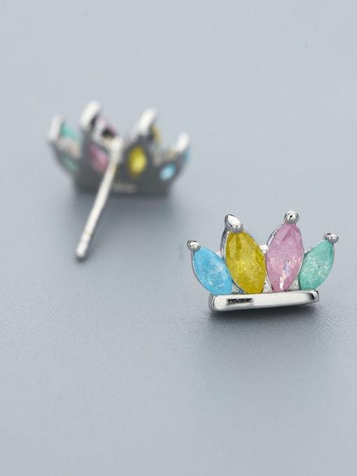 One Silver Women Colorful Zircon stud Earring 2