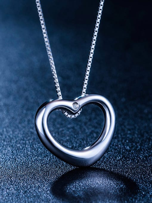 One Silver All-match Heart shaped Pendant 2