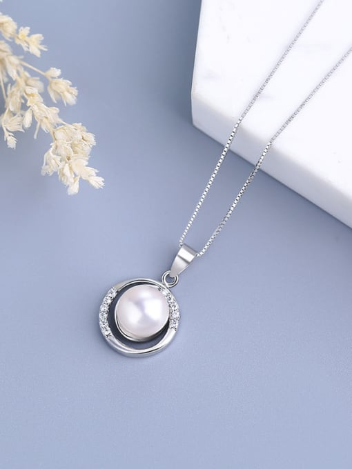 One Silver S925 Silver Freshwater Pearl Pendant 0