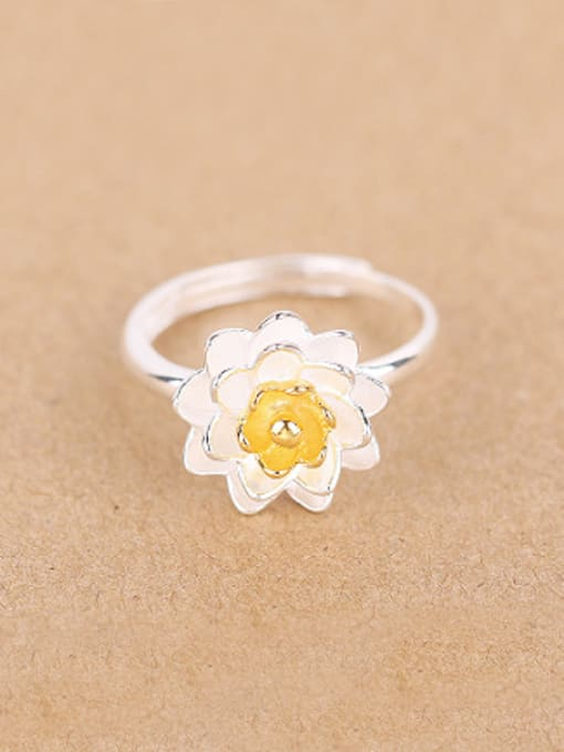 Peng Yuan Ethnic Lotus Flower Silver Ring