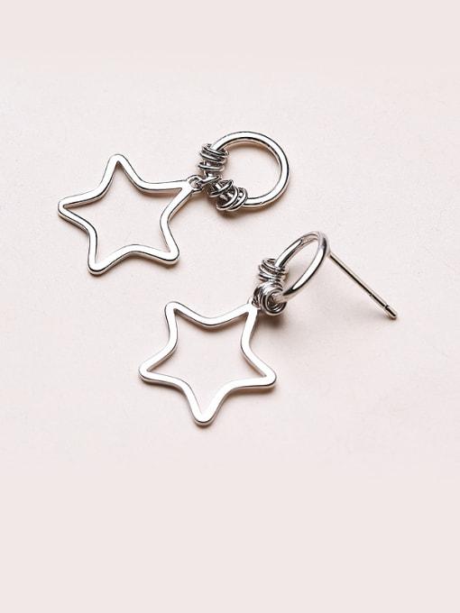 One Silver Women Five-point Star Shaped stud Earring 2
