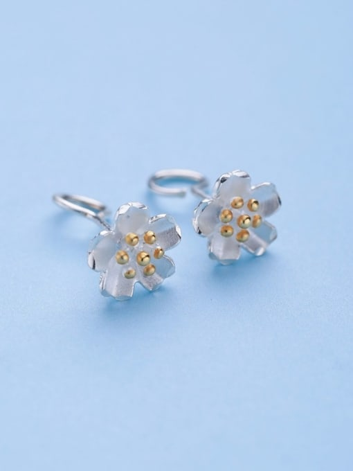 One Silver S925 silver yellow color flower fashion all-match Tremella nail hook group 2