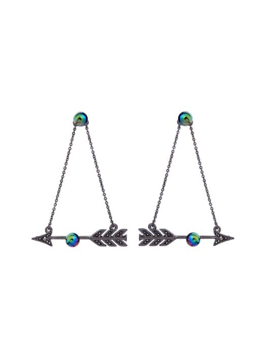 KM Nightclub Accessories Arrow Alloy Drop Chandelier earring 0